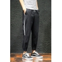 Summer Casual Loose Trendy Stripe Side Drawstring Waist Tapered Cotton Sport Pants for Men