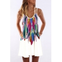 New Stylish Vintage Feather Printed Sleeveless Mini A-Line Dress
