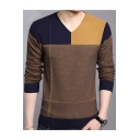 Men's Stylish V-Neck Color Block Long Sleeve Casual Pullover Sweater