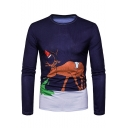New Stylish Creative Cartoon Camel Printed Round Neck Long Sleeve Navy T-Shirt