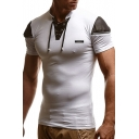 Mens Summer New Fashion Lace-Up Stand Collar Zip Patched Short Sleeve Slim Fit T-Shirt