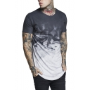 Men's Summer Trendy Ombre Color Basic Round Neck Short Sleeve Hipster T-Shirt
