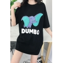 Summer Cute Comic Dumbo Printed Girls Round Neck Tunic Oversized T-Shirt