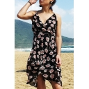 Sexy Floral Printed V-Neck Open Back Black Midi Asymmetric Dress