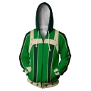 3D Digital Printed Cosplay Long Sleeve Zip Up Hoodie in Green