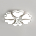 Petal Ceiling Fixture Living Room 4/8/10 Lights Modern Flush Mount Light in White