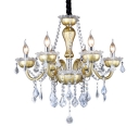6 Lights Candle Chandelier Contemporary Length Adjustable Metal Hanging Chandelier with Clear Crystal Decoration and 12