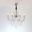 Adjustable Candle Chandelier Dining Room 9 Lights Antique Hanging Chandelier with Clear Crystal and 12