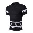 Mens Summer Simple Star Stripe Printed Three-Button Slim Fit Polo Shirt