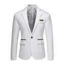 Trendy Plain Notched Lapel Single Button Long Sleeves Flap-Pockets Slim-Fit Blazer Jacket