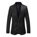Stylish Print Long Sleeve Single Button Notch Lapel Split Back Slim Black Blazer Jacket for Men