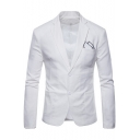 Simple Plain Long Sleeve Double Button Notched Lapel Collar Linen Suits for Men