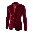 Simple Basic Plain Peaked Lapel Single Button Long Sleeve Velvet Wedding Suit Blazer for Men