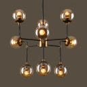 Antique Black and Brass Chandelier with Glass Balls 8/9 Lights Metal Pendant Light