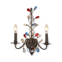 Black Candle Sconce Light 2 Lights Vintage Metal Wall Lamp with Crystal Decoration for Dining Room
