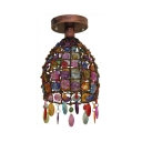 Dome/Globe Ceiling Flush Light with Colorful Crystal Beads 1 Light Vintage Semi Flush Mount in Rust