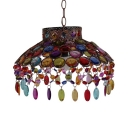 Bowl Bedroom Pendant Lighting with Colorful Crystal Beads 1 Light Vintage Hanging Light