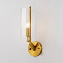 Contemporary Gold Sconce Light with Cylinder 1/2 Lights Metal Wall Lamp with Clear Crystal