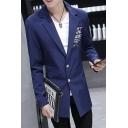 Men's Letter Animal Printed Long Sleeve Notched Lapel Double Button Slim Longline Suit Sport Coat