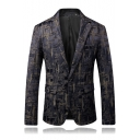 Nightclub Trendy Printed Long Sleeve Notched Lapel Single Button Mens Dinner Suit Blazer