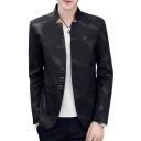 Men's Trendy Printed Stand Up Collar Button Front Long Sleeve Slim Fitted Blazer Jacket