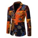 Retro Ethnic Printed Colorblocked Long Sleeve Double Button Notched Lapel Mens Linen Blazer Suit
