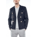 Men's Trendy Pinstripe Printed Long Sleeve Peak Lapel Double Breasted Blazer and Sport Coat