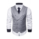 Mens Solid Double Breasted Back Belt Lapel Collar Business Suit Vest