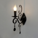 Traditional Candle Wall Light Fixture Metal 1/2 Lights Black/White Wall Lamp for Foyer