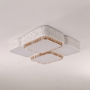 Acrylic Square/Rectangle Ceiling Fixture with Clear Crystal Modern LED Flush Light in White for Living Room