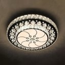Living Room Round Flush Light Clear Crystal Contemporary Chrome LED Ceiling Pendant