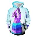 Popular Game Hobby Horse 3D Pattern Basic Long Sleeve Loose Fit Light Blue Hoodie