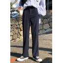 Guys Fashion Solid Color Zipper Fly Loose Fit Cotton Straight-Leg Dress Pants Suit Pants