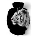 Mens Cool 3D Tiger Pattern Long Sleeve Black Drawstring Hoodi