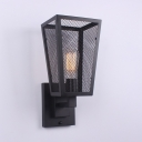 Metal Mesh Cage Sconce Light Single Light Antique Wall Light Fixture in Black for Kitchen