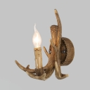 Bronze Candle Wall Light Single Light Rustic Resin/Metal Sconce Light for Living Room