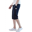 Mens Summer Comfort Cotton Drawstring Waist Simple Plain Loose Casual Cropped Lounge Pants