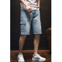 Guys Vintage Washed Summer Relaxed Fit Cargo Shorts Denim Shorts