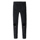 Guys New Stylish Zip Cuff Knee Torn Stretch Slim Fitted Black Ripped Jeans