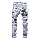Hot Fashion Retro Newspaper Letter Printed Rolled Cuff Mens White Casual Jeans