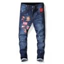 Men's Hot Fashion Ink Dot Printed Letter Flag Badge Patchwork Slim Fit Dark Blue Jeans