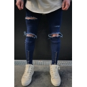 Fashion Blue Knee Cut Zip Embellished Guys Skinny Fit Ripped Jeans