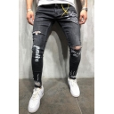 Men's Hip Hop Fashion Letter Printed Ripped Stretch Skinny Fit Black Jeans