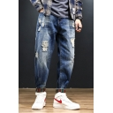 New Stylish Washed Elastic Cuff Guys Relaxed Fit Distressed Ripped Jeans