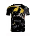 Hot Popular Cool 3D Character Print Short Sleeve Black T-Shirt