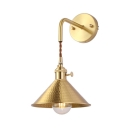 Cone Suspender Wall Light Hallway One Light Vintage Metal Wall Sconce in Brushed Brass/Aged Brass