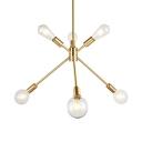 Brass Sputnik Chandelier 6 Lights Mid Century Metal Pendant Lighting for Bedroom