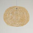 Beige/Coffee Globe Pendant Lighting 1 Light Modern Rattan Ceiling Pendant Light for Living Room