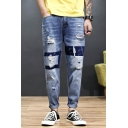 Fashion Printed Light Blue Guys Drop-Crotch Rolled Cuff Loose Fit Ripped Jeans