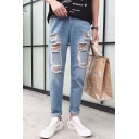 Men's New Stylish Cool Rolled Cuff Slim Fit Distressed Ripped Blue Wear Jeans